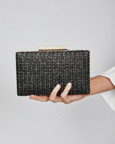 BILLINI | INDIANA CLUTCH - BLACK RAFFIA |  |Handbags
