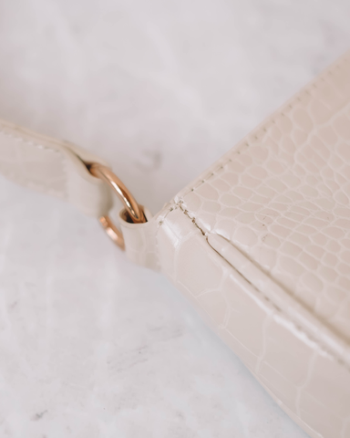 LENNY SHOULDER BAG - OFF WHITE CROC