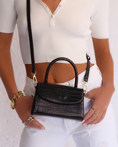 LIV SHOULDER BAG - BLACK CROC-Handbags-Billini--Billini