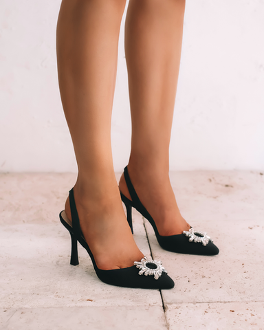LOTTIE - BLACK SATIN-Heels-Billini-Billini