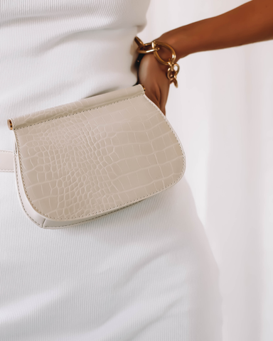 MARLOW BELT BAG - OFF WHITE CROC
