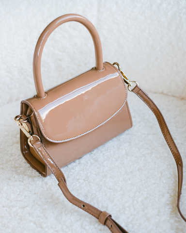 LIV SHOULDER BAG - TOFFEE PATENT-Handbags-Billini--Billini