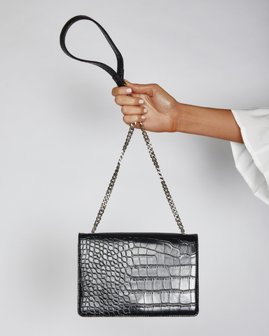 BILLINI | ROONEY SHOULDER BAG - BLACK CROC |  |Handbags