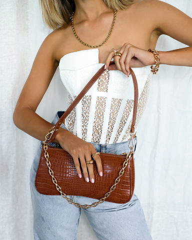 ROSE SHOULDER BAG - TAN CROC-Handbags-Billini--Billini