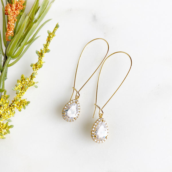 Simple Gold Bridal Drop Earrings (3 Sizes Available)