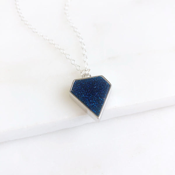 Blue Druzy Shield Necklace in Sterling Silver