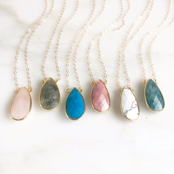 Large Stone Teardrop Pendant Necklace in Gold