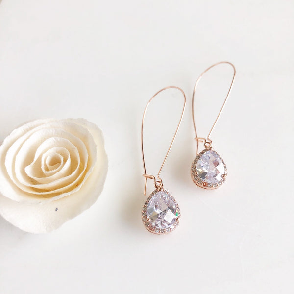 Simple Rose Gold Bridal Drop Earrings (3 Sizes Available)