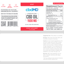 Load image into Gallery viewer, cbdMD CBD Oil Tincture Drops 1500mg