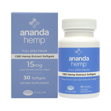 Load image into Gallery viewer, Ananda Hemp Full Spectrum CBD Oil Softgel Capsules 15mg 30 Count
