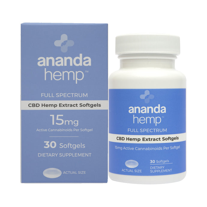 Ananda Hemp Full Spectrum CBD Oil Softgel Capsules 15mg 30 Count