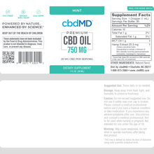 Load image into Gallery viewer, cbdMD CBD Oil Tincture Drops 750mg