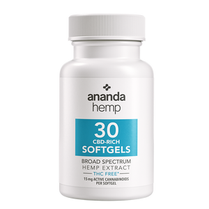 Ananda Hemp Broad Spectrum THC-Free CBD Oil Softgel Capsules 15mg 30 Count