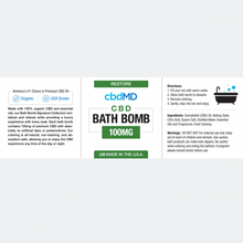 Load image into Gallery viewer, cbdMD CBD Bath Bomb Restore - Blend - 100 mg