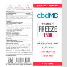 Load image into Gallery viewer, cbdMD CBD Freeze Pain Relief Gel Squeeze 1500mg