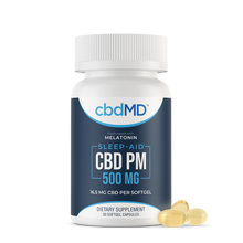 Load image into Gallery viewer, cbdMD CBD PM Softgel Capsules 500mg 30 Count
