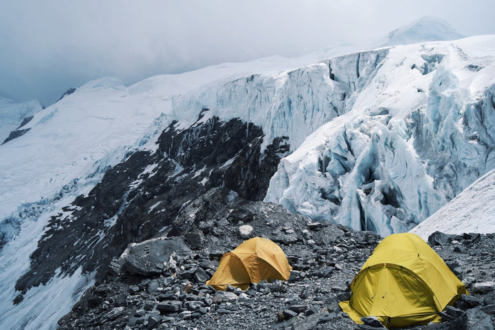 Emil Hvidtfeldt camping on his way up to the summit of Mera Peak in Nepal