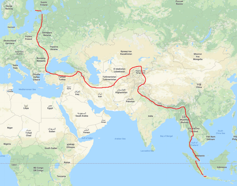Emil's route for his transcontinental bike ride from Finland to Indonesia.