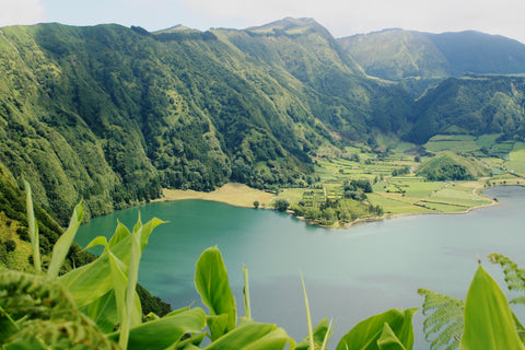 View of the green mountains and the coast in Sao Miguel island in the Azores Portugal