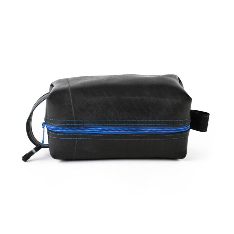 Alchemy Goods Elliott large blue dopp kit zip side view