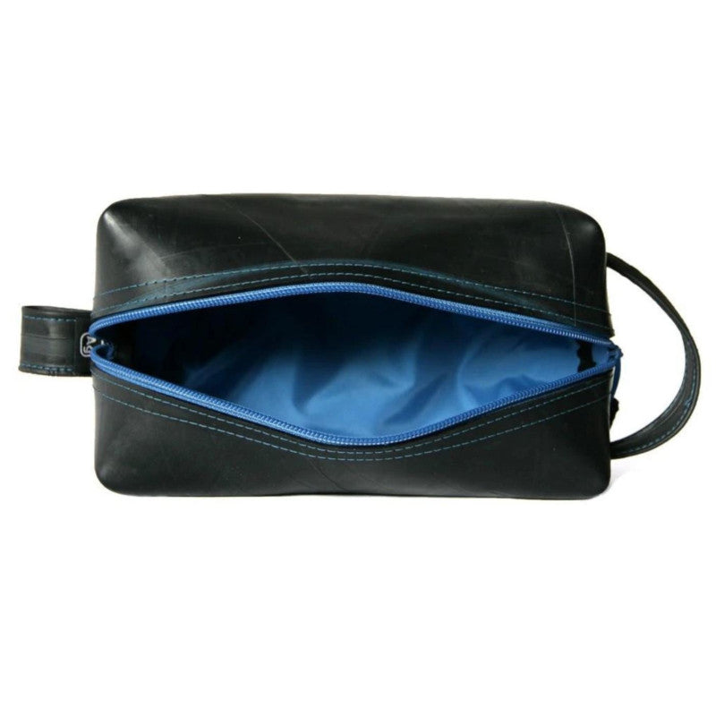 Alchemy Goods Elliott large blue dopp kit zip open view