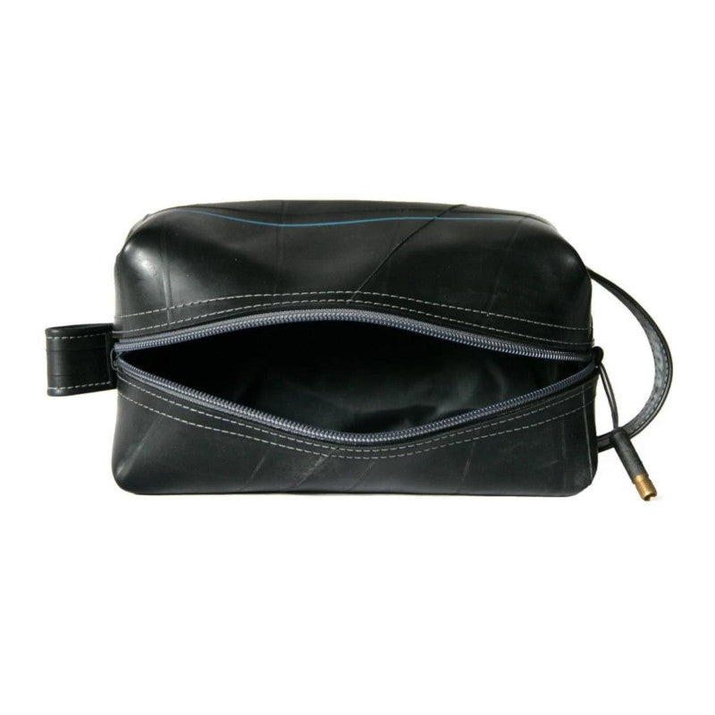 Alchemy Goods Elliott large charcoal dopp kit zip open