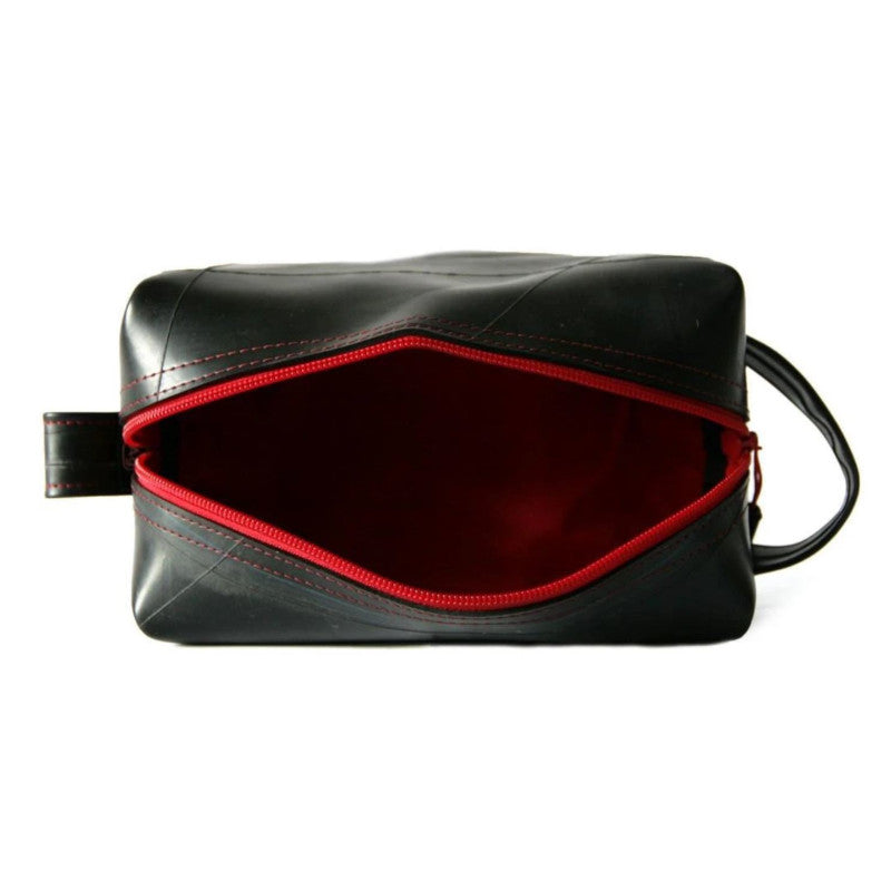 Alchemy Goods Elliott large red dopp kit zip open view