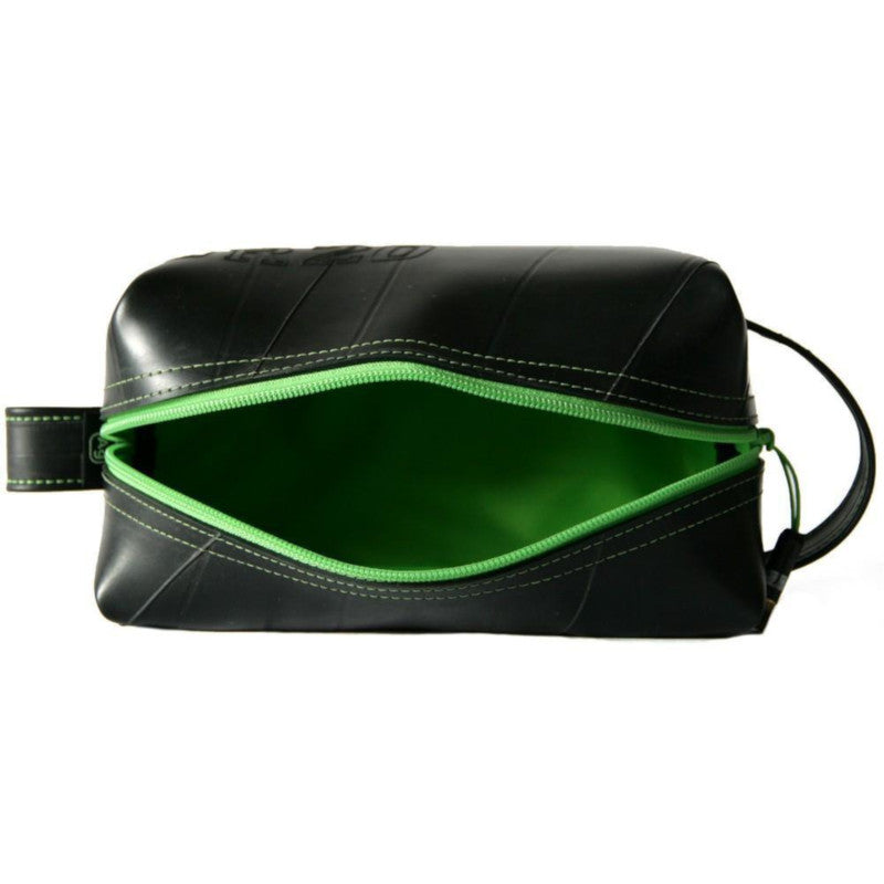 Alchemy Goods Elliott large lime dopp kit zip open view