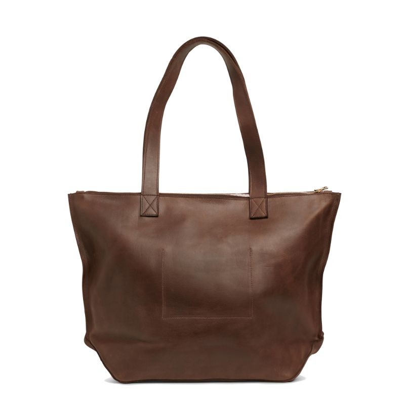 Rear view of the dark brown Entoto Zip Tote