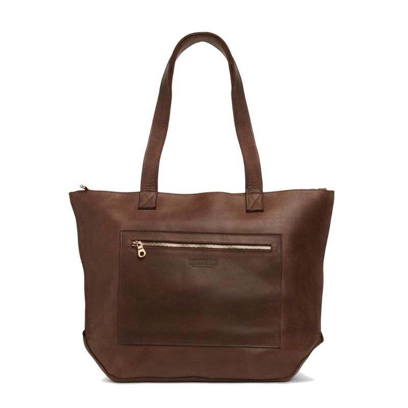 Front view of the dark brown Entoto Zip Tote