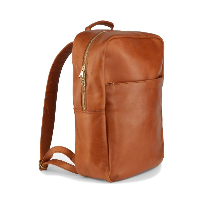 Side view of the dust brown Mari Backpack