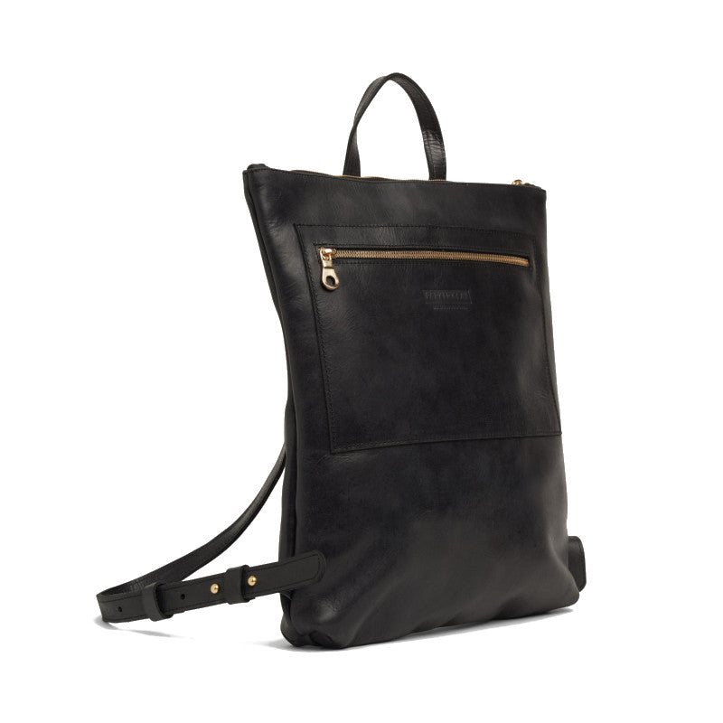 Side view of the black Miramar Leather Backpack
