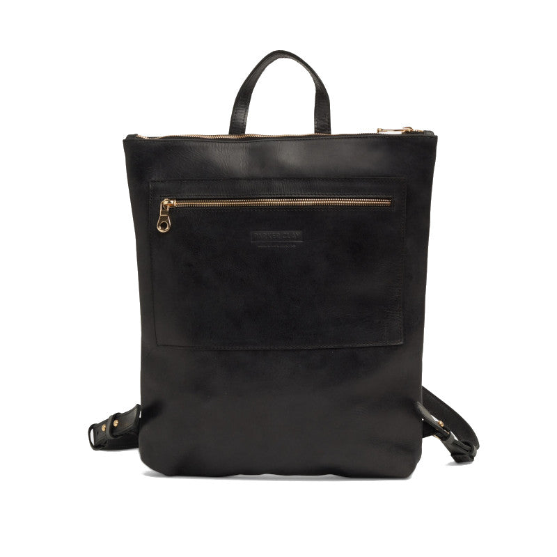 Front view of the black Miramar Leather Backpack