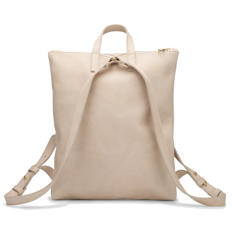 Back view of the bone color Miramar Leather Backpack