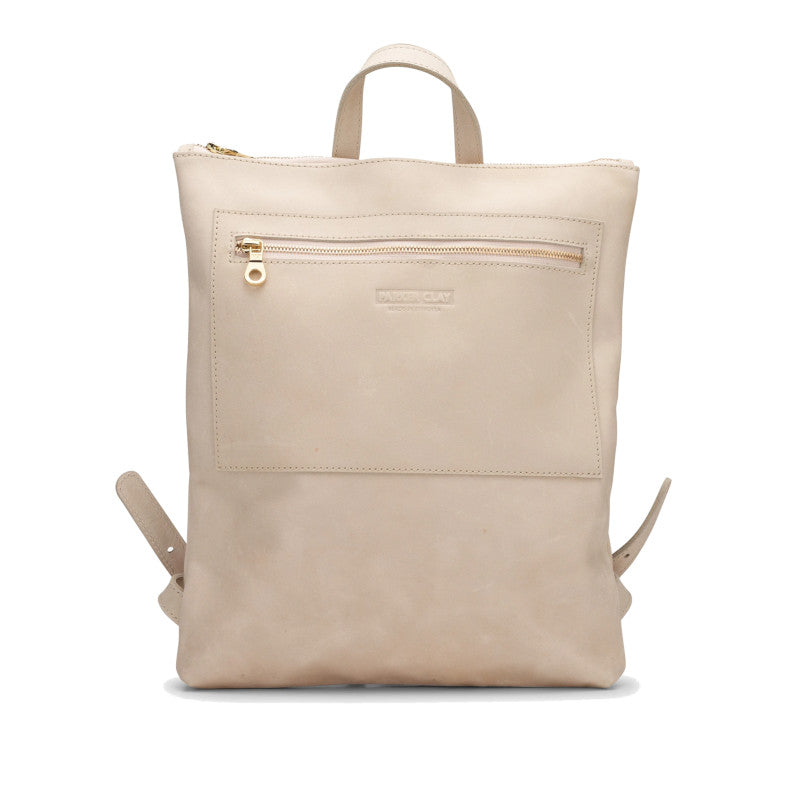 Front view of the bone color Miramar Leather Backpack
