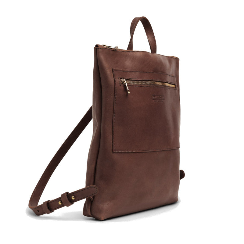 Angle view of the dark brown Miramar Leather Backpack