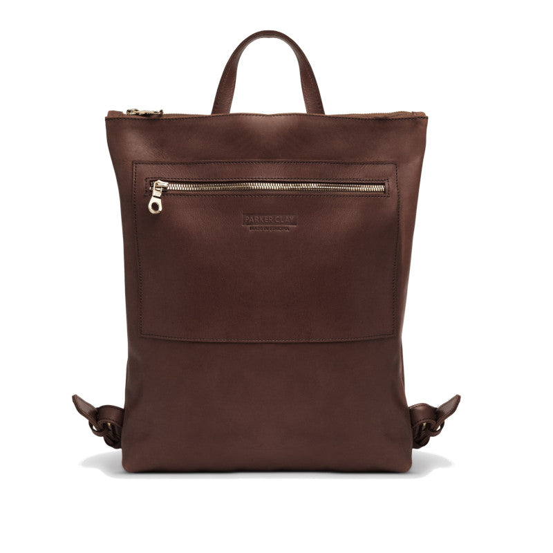 Front view of the dark brown Miramar Leather Backpack