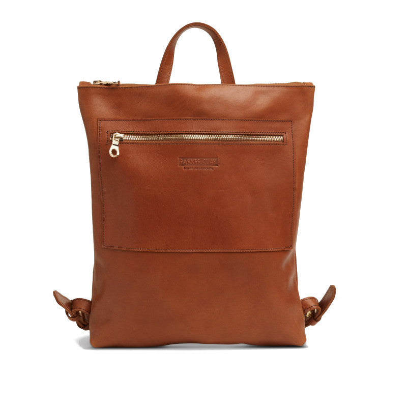 Front view of the rust brown Miramar Leather Backpack