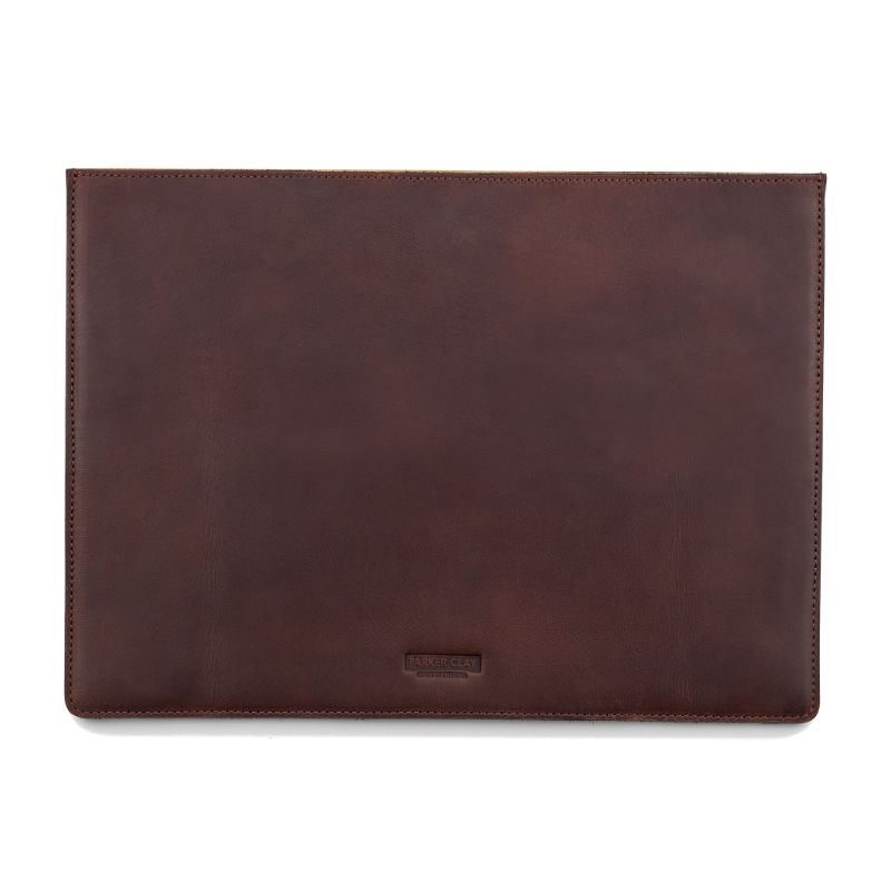 Front view of the dark brown Presidio Laptop Sleeve - 13 Inch