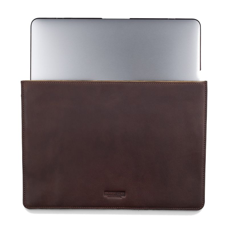 Front view of the dark brown Presidio Laptop Sleeve - 13 Inch with laptop