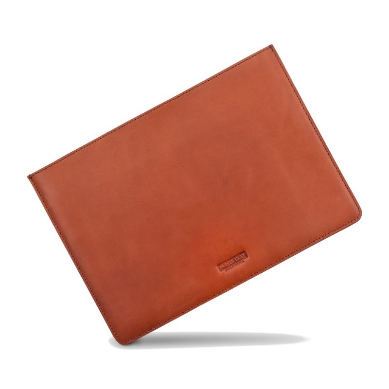 Angled view of the rust brown Presidio Laptop Sleeve - 13 Inch