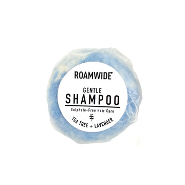 Roamwide natural shampoo bar in plastic-free packaging