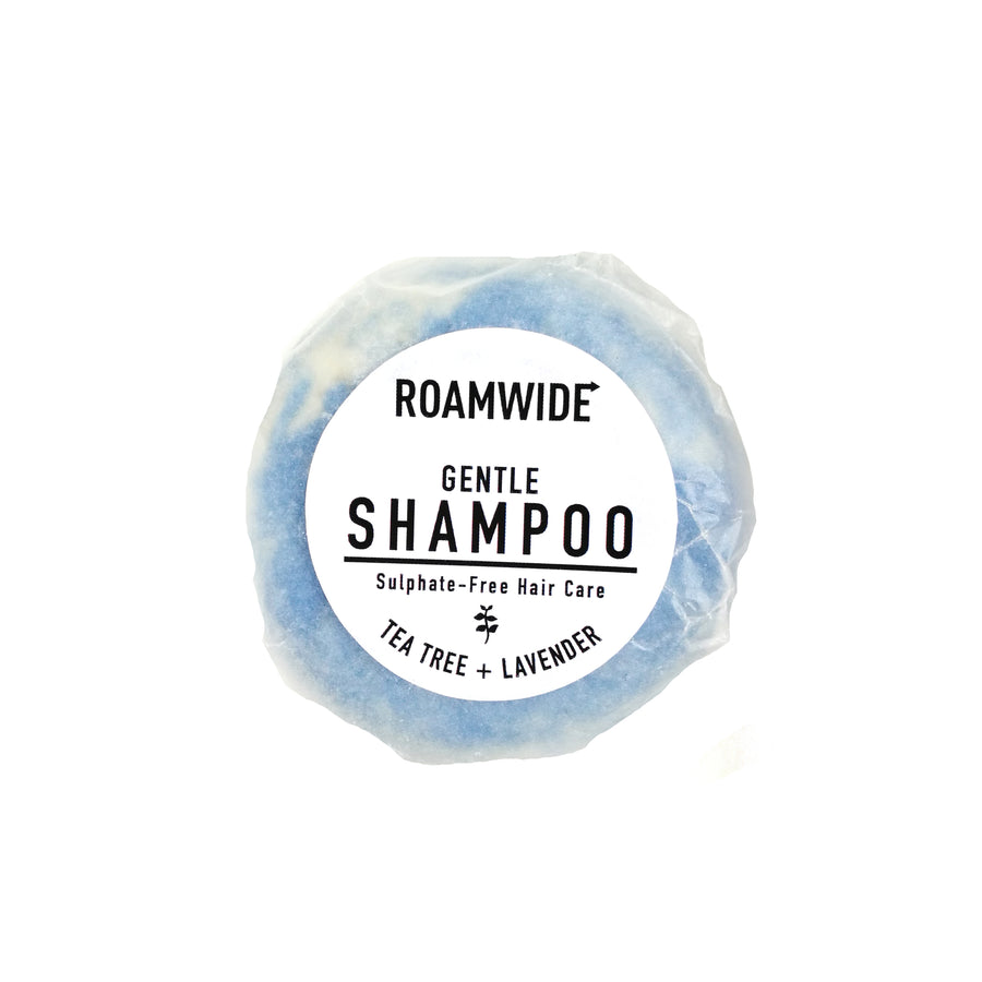 Roamwide shampoo bar in plastic-free packaging