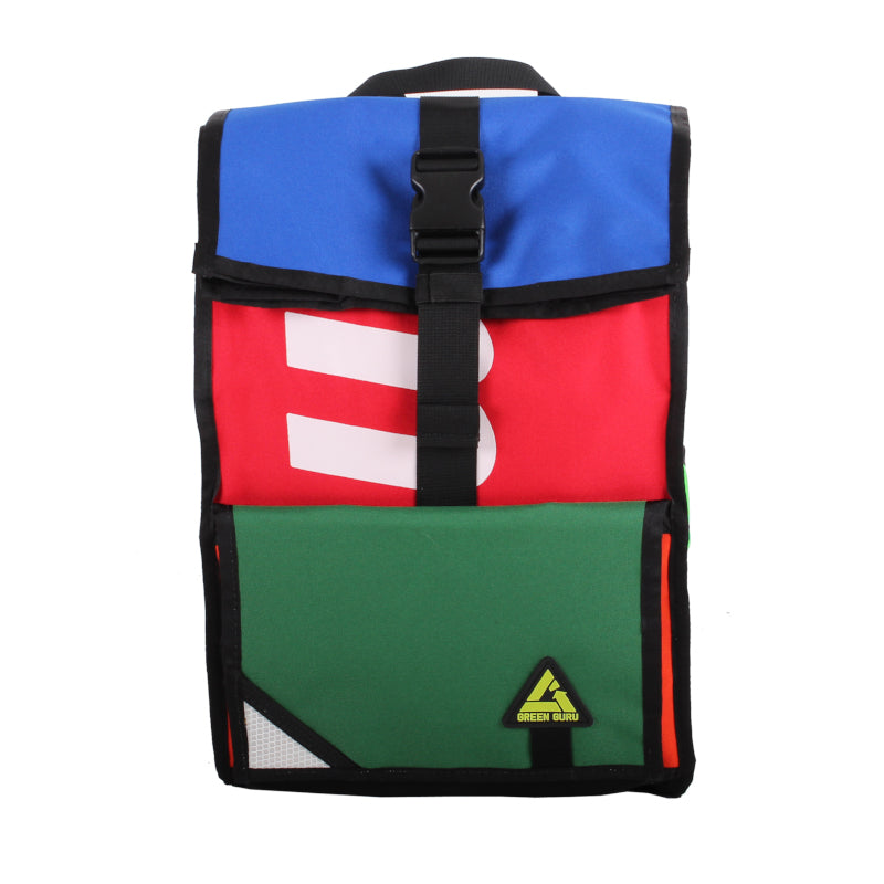 Front view of roll top backpack