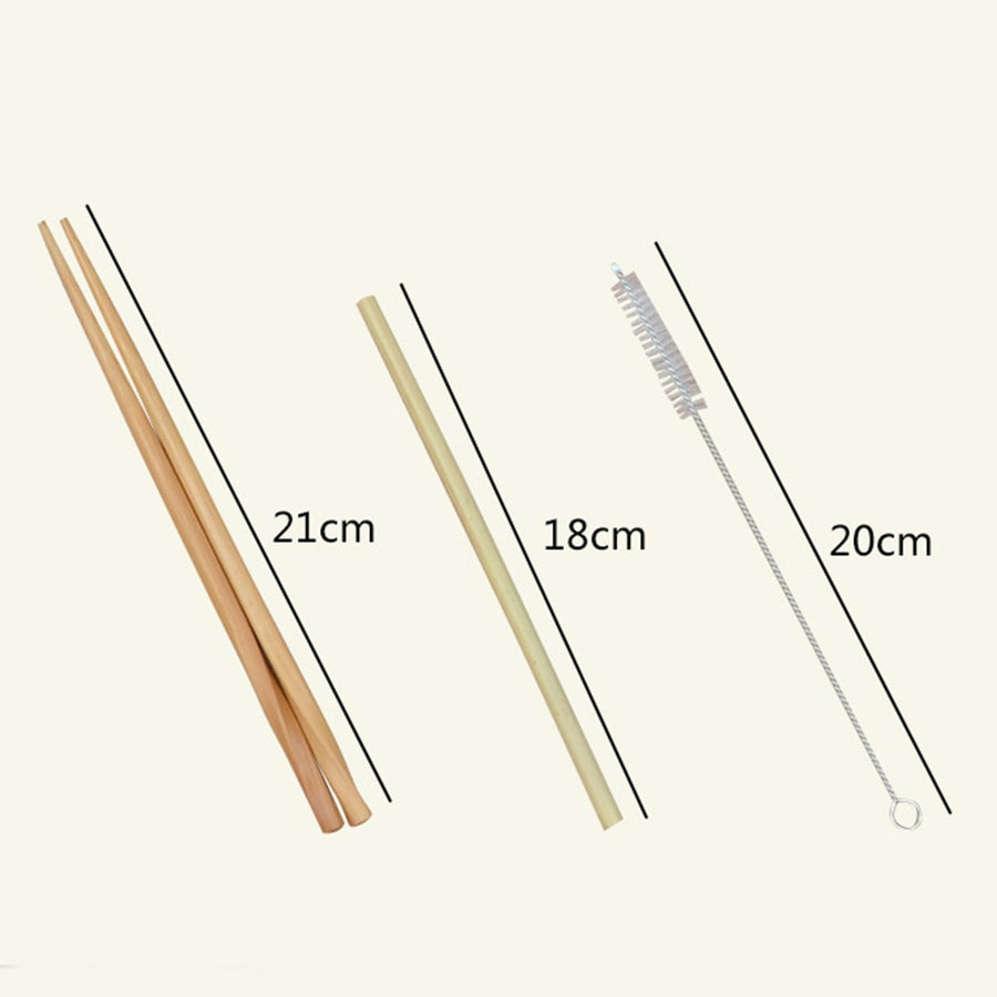 Measurements of bamboo chopsticks (twenty-one centimeters), straw (eighteen centimeters) and brush cleaner (twenty centimeters).