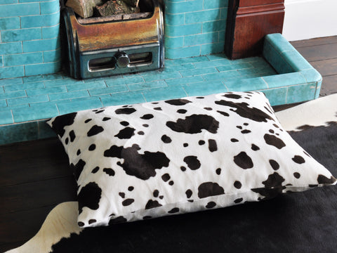 Brown Cow faux fur luxury cat bed