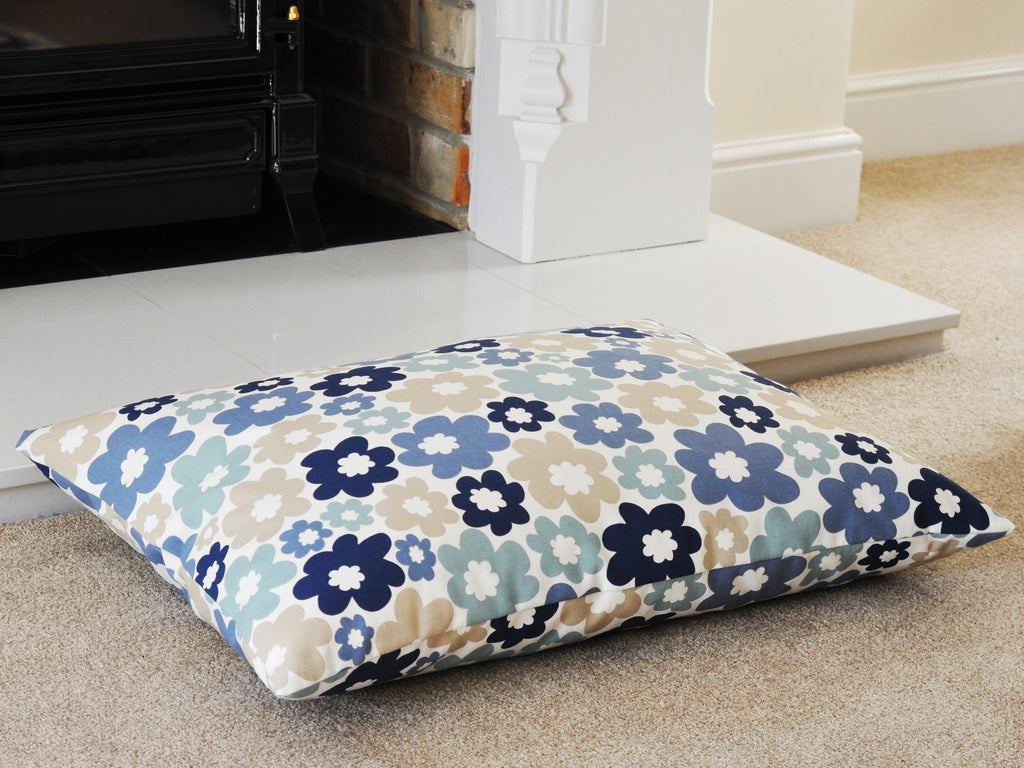 Blue Flowers luxury dog bed