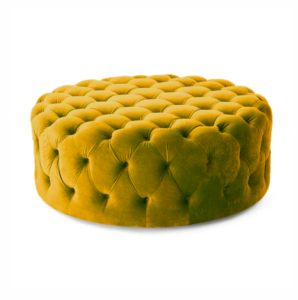 Willow | Round Ottoman Footstool with Tufted Cushions - Banana Home