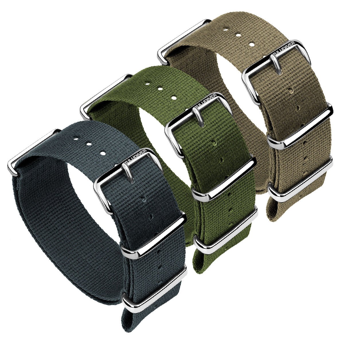 Classic ZULUDIVER Military Colour NATO Watch Strap, Polished Hardware