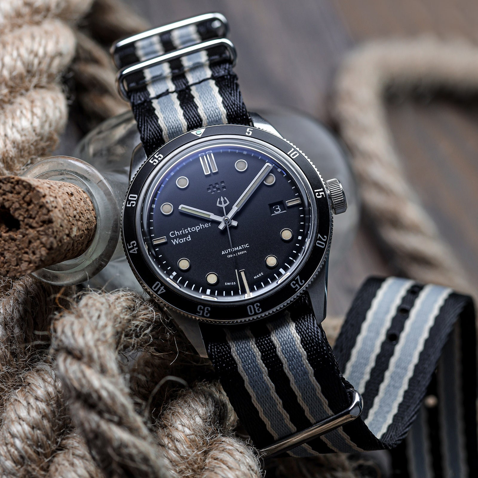 Professional Striped NATO Watch Strap with Polished Hardware